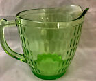Vintage Green Glass Pitcher Ribbed 5 3 4