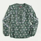 NEW J Crew Liberty Ruffle Sleeve Blouse Mixed Franklyn Floral NWT XS S AE842