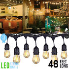 48 ft LED Outdoor Waterproof 15 Bulbs Commercial Grade Patio Globe String Lights