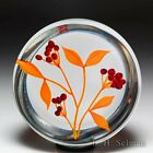 Paul Stankard 1976 Experimental red chokeberries and orange leaves paperweight