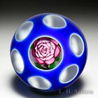 John Deacons pink rose encased faceted double overlay glass paperweight