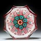 Strathearn millefiori and latticinio star shaped glass art paperweight