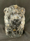 Baccarat LIon Head Glass Sculpture Figurine Paper Weight Excellent Condition