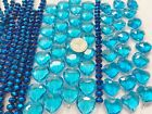 Bulk Lot 10 lbs BLUE CRYSTAL Beads for DIY Beading Mix Size Heart Beads Glass