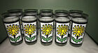 VTG MCM Set of 10 DAISY Glass Tumbler GLASSES Yellow Green Flowers NICE