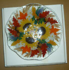Peggy Karr Glass 9 AUTUMN SUNFLOWER Fluted Bowl Signed