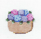 NANTUCKET BASKET with Pink Blue  Purple HYDRANGEA HP Needlepoint Canvas by MBM