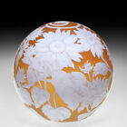 Cathy Richardson 2020 Sunflowers engraved amber cameo glass art paperweight
