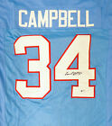 HOUSTON OILERS EARL CAMPBELL AUTOGRAPHED SIGNED BLUE JERSEY BECKETT 178329