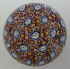 Large Vtg Murano Italy Red White Blue Yellow Millefiore Art Glass Paperweight