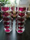 Vintage french Heavy Triangular Glass Cranberry Red  Clear Vases 17cm Tall