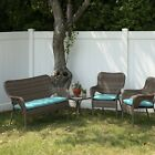 3 Pc Outdoor Wicker Patio CUSHION Set 1 Settee  2 Chair Teal NEW