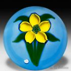 J Glass Bloom in May yellow flower mini glass paperweight