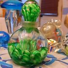 Perfume Bottle W stopper Paperweight Art Glass Signed Gibson Green White