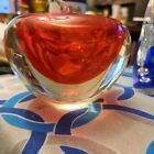 Paperweight Art Glass Clear red Apple Figurine Statue 3 1 2 X 3 Murano Style