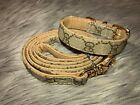 Luxury Gucci Adjustable Leather Pet Collar And Leash