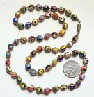 Vtg Art Deco Venetian Murano Millefiori Hand Knotted 59 Glass Bead Necklace 28