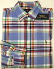 NEW 98 Polo Ralph Lauren Blue Red Green Plaid Long Sleeve Shirt Oxford Classic