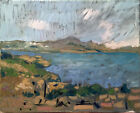 Cezanne Study Landscape Ocean French Impressionist Oil Painting Signed 16x20