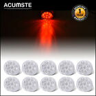 10Pcs 2 Round Side Marker Light Clear Red 9 LED Flower Shape Trailer Truck Lamp