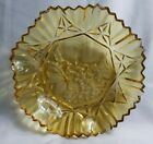 Vintage Clear Tinted Amber Etched Fruit Glass Display Heavy Server Bowl Dish