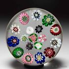 Antique Clichy spaced concentric millefiori miniature glass paperweight