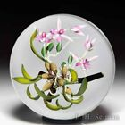 Chris Buzzini 1992 pink epiphytic orchids art glass studio paperweight