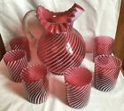 FENTON ART GLASS CRANBERRY OPALESCENT SPIRAL OPTIC PITCHER AND 6 TUMBLERS