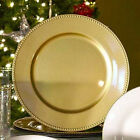Sets of 24126 Gold Plastic Large Charger Wedding Plates Beaded Rims 13 NEW