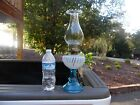 Gorgeous Antique Oil Lamp Blue Base With White Opalescent Swirl Font Chimney