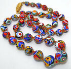 LARGE VTG ANTIQUE MORETTI VENETIAN MURANO MILLEFIORI ART GLASS BEAD NECKLACE G3