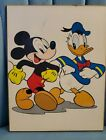 VINTAGE MICKEY MOUSE & DAFFY DUCK PRESSED CORK WALL PICTURE/CELL PRINT