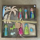 HALLMARK NATIVITY SET OMURA COLLECTION 11 Pc WOOD MANGER PALM TREE RESIN FIGURES