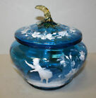 Antique Teal Colored Mary Gregory Art Glass Fruit Bowl with Covered Lid