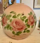 Large Antique VINTAGE Roses pink SHADE round Globe GWTW Parlor oil LAMP