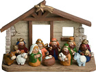 Miniature Kids Nativity Scene with Creche Set of 12 Rearrangeable Figures