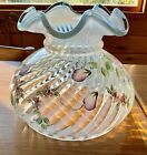 VINTAGE FENTON OPALESCENT SWIRL RUFFLE PAINTED FLOWER LAMP SHADE MINT COND