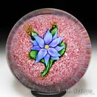 Antique Saint Louis blue double clematis on red jasper glass paperweight