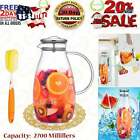 90 Ounces Glass Pitcher with Stainless Steel Lid Hot Cold Water Jug Juice and