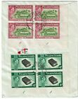 Pitcairn Island 1957 registered cover to Scotland 4d 8d cylinder blocks
