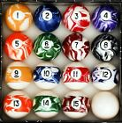 Marble Swirl Pool Table Billiard Ball Set Regulation Size and Weight