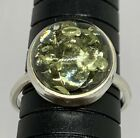Natural Green Amber 925 Sterling Silver Large Round Ring Size US 10 Handmade