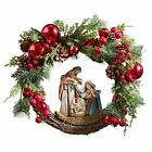 Artificial Greenery Christmas Holy Family Nativity Wreath for Door 15 Inch