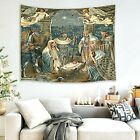 Nativity Scene Tapestry Jesus Christ Birth in Manger Wall Hanging Angel and Thr