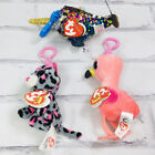 New Teeny TY Beanie Baby Mini Boos Calypso Clip Sequence Flipables Gilda Tasha
