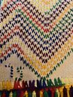 Vintage Handmade Swedish Weave Monk Cloth Afghan Blanket Throw Rainbow 1975 Boho