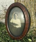Tiger Wood Oval Frame Convex Bubble Glass Vintage Photo Picture Antique f