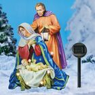 Solar Lighted The Holy Family Nativity Scene Christmas Metal Lawn Stake
