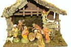 Vintage Italian Nativity Set Real Wood Moss Manger Scene Creche 12 Figurines