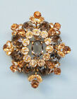 Vintage SCHREINER Gray Clear  Light Topaz Rhinestone Brooch Breathtaking